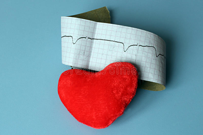 Elektrokardiogramgrafen och hjärta formar, ekgrytm, medicinconcep royaltyfri fotografi