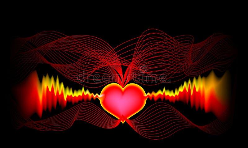 Elektrokardiographiegitter für das Notieren und das Studieren der elektrischen Felder erzeugt durch das Herz Stilisierte wellenäh stock abbildung