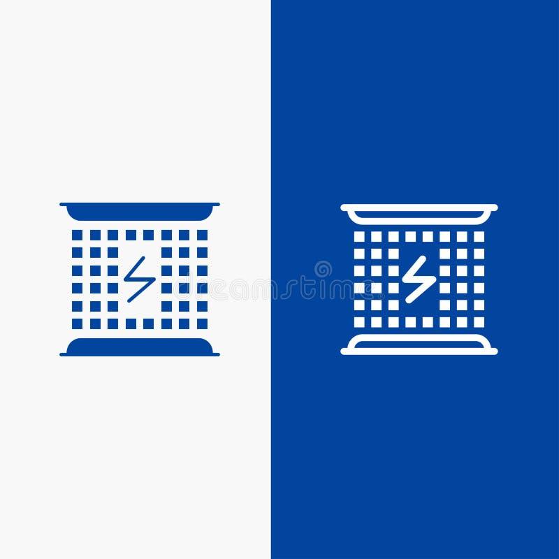 Elektromagnetisk, för energilinje och för skåra för fast symbol för blå för baner symbol för linje och för skåra fast blått baner royaltyfri illustrationer