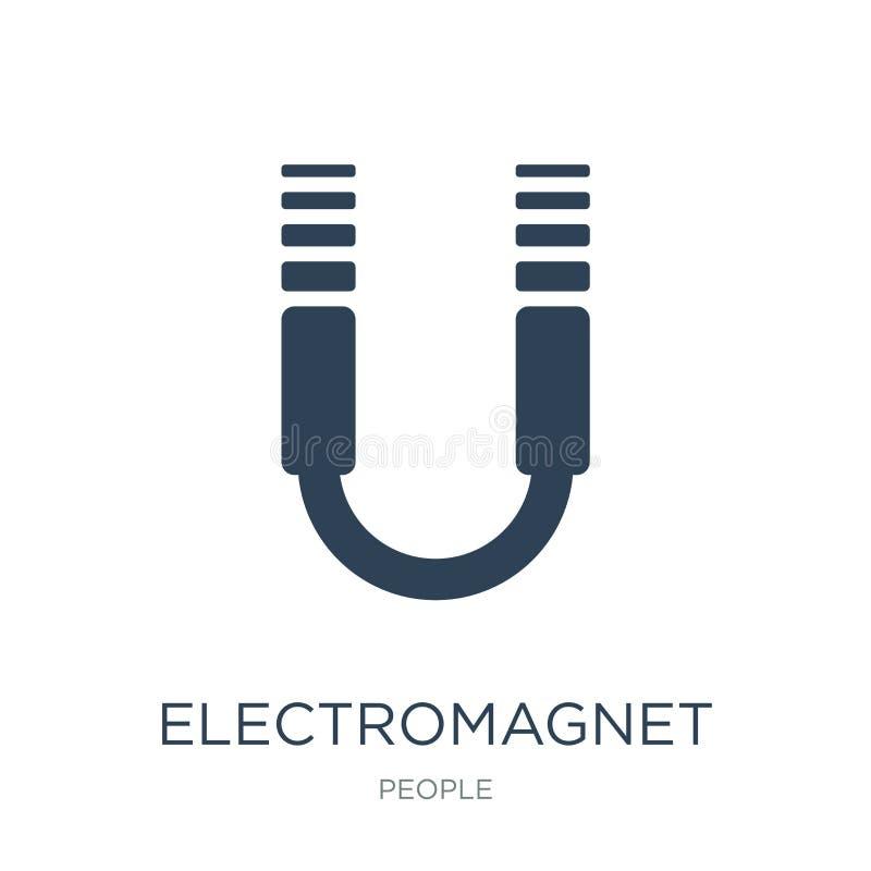 elektromagnetsymbol i moderiktig designstil elektromagnetsymbol som isoleras på vit bakgrund enkel elektromagnetvektorsymbol och vektor illustrationer