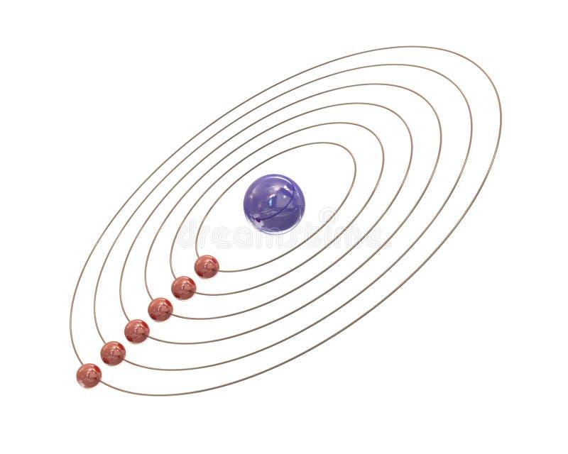 Elektronen en wegen rond de kern royalty-vrije illustratie