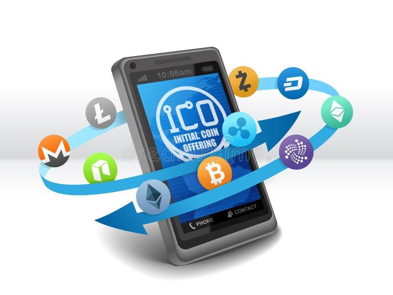 Elektroniczna Crypto waluta inicjału moneta Oferuje ICO na wiszącej ozdobie ilustracji