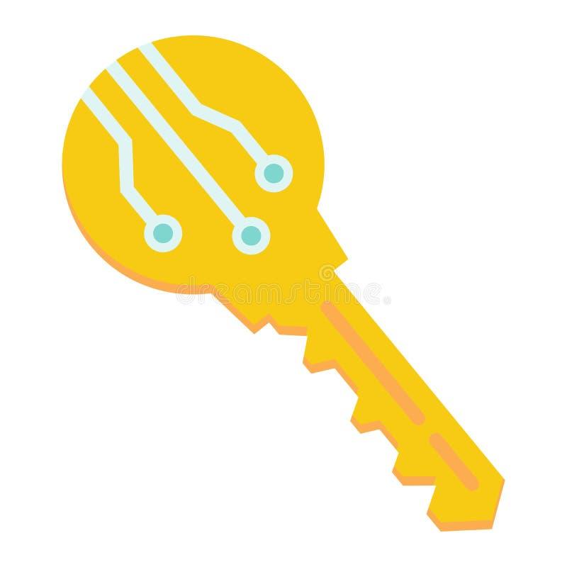 Elektroniczna kluczowa płaska ikona, ochrona i dostęp, ilustracji