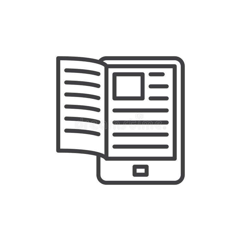 Elektroniczna książkowa czytelnik linii ikona ilustracji
