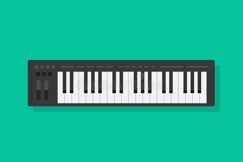 Elektroniczna muzykalna fortepianowej klawiatury wektorowa ilustracja, płaski kreskówki Midi kontroler lub syntetyk, odizolowywal ilustracja wektor