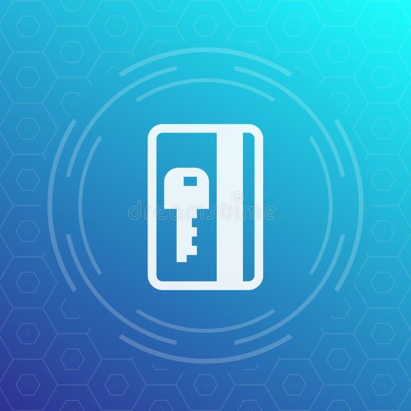 Elektroniczna przepustka, plastikowa karcianego klucza ikona ilustracji