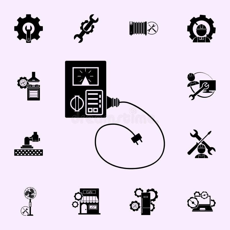 elektroniczna remontowa kalibracyjna utrzymanie komputeru ikona Remontowy ikony og?lnoludzki ustawiaj?cy dla sieci i wisz?cej ozd ilustracji