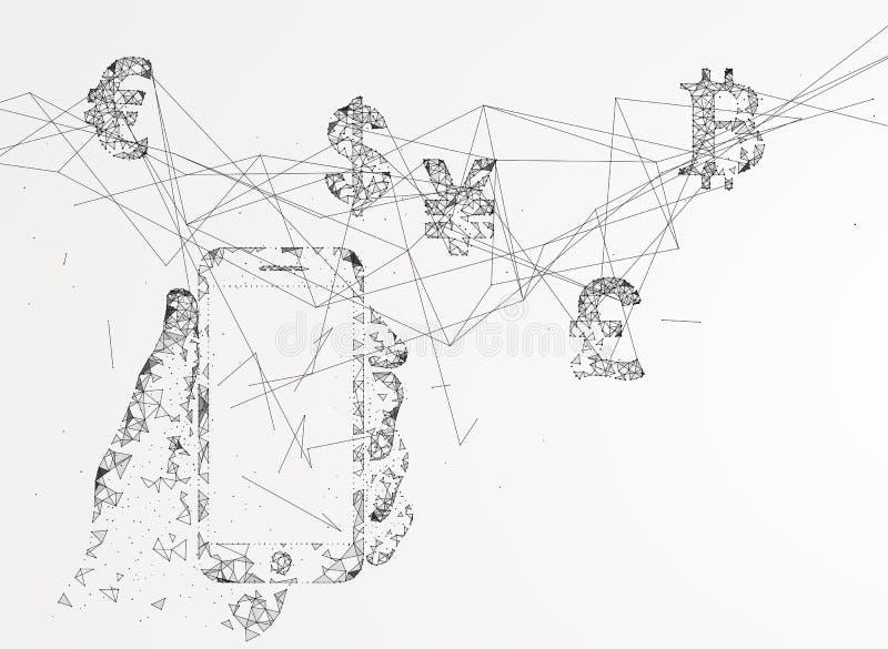 Elektroniczna zapłata, interneta finanse ilustracja wektor