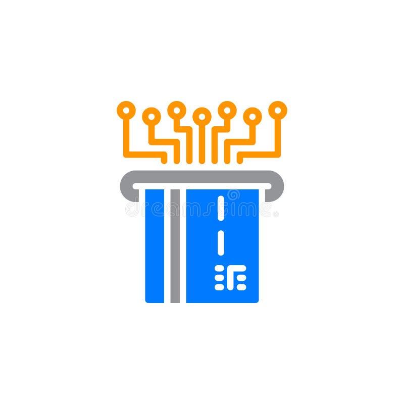 Elektroniczna zapłata z klingeryt karty ikony wektorem, wypełniający mieszkanie znak, stały kolorowy piktogram na bielu royalty ilustracja