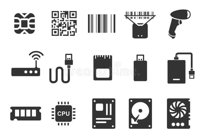 elektroniczne ikony ilustracja wektor
