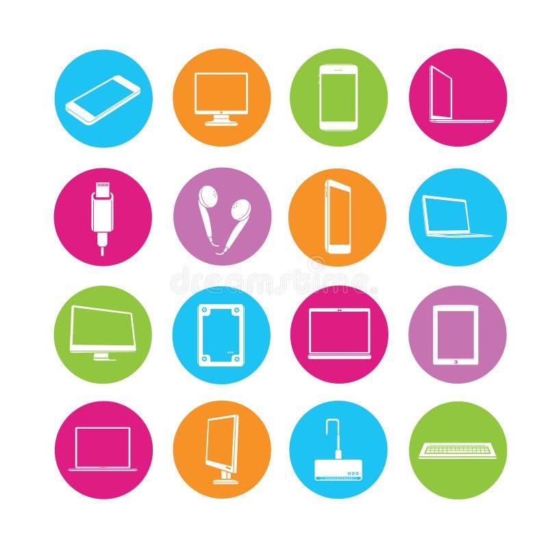 Elektroniczne ikony, komputerowe ikony ilustracja wektor