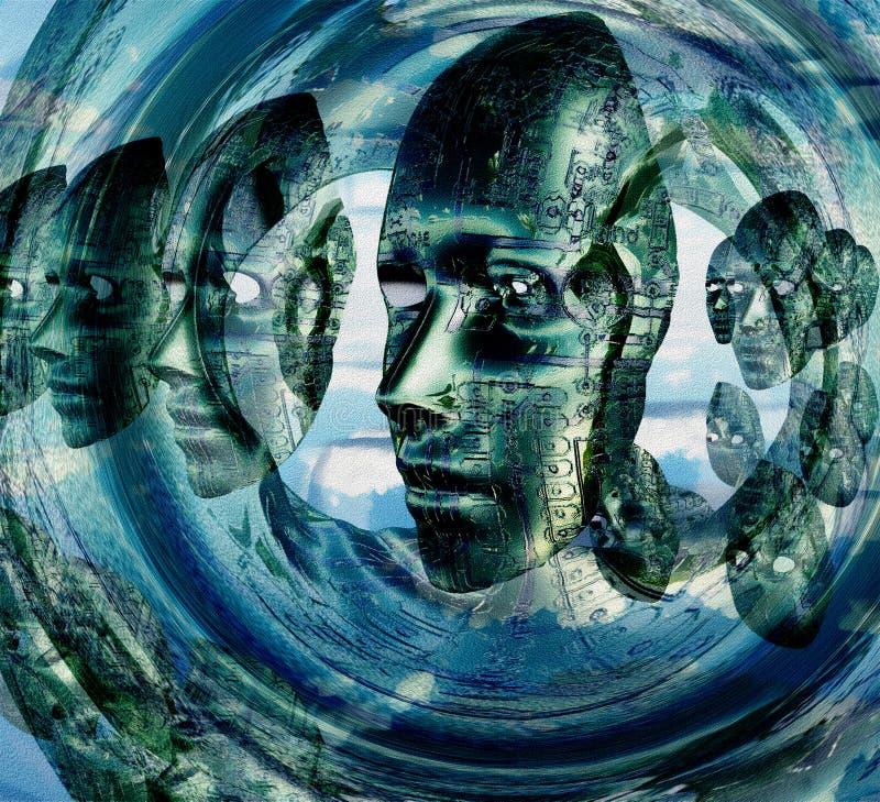 Elektroniczne twarze royalty ilustracja