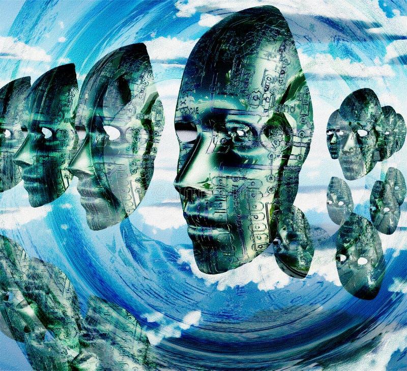 Elektroniczne twarze ilustracji