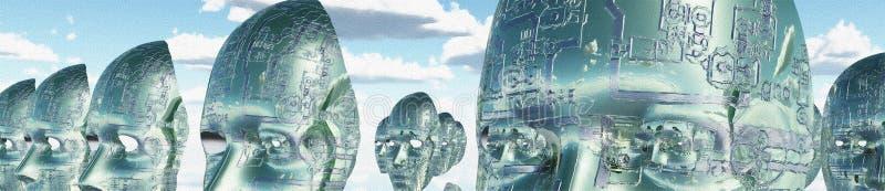 Elektroniczne twarze ilustracja wektor