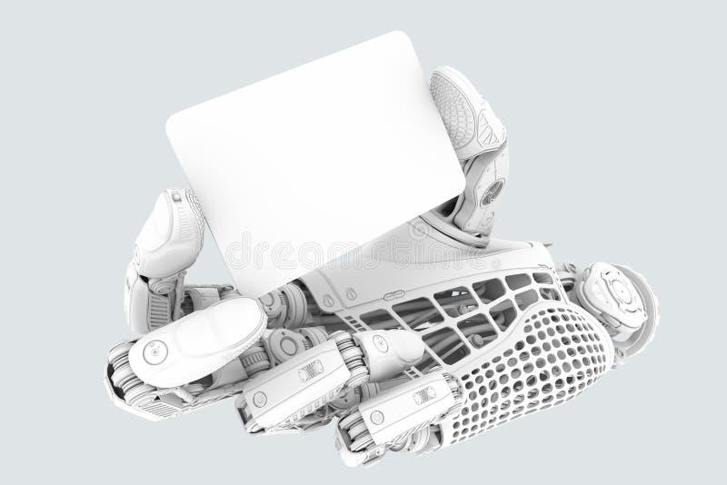 Elektronicznego biznesu finanse pojęcie mechaniczna ręka z plastikowym czystym talerzem w karcianym kształcie royalty ilustracja
