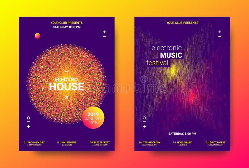 Elektronicznej muzyki plakata pojęcie royalty ilustracja
