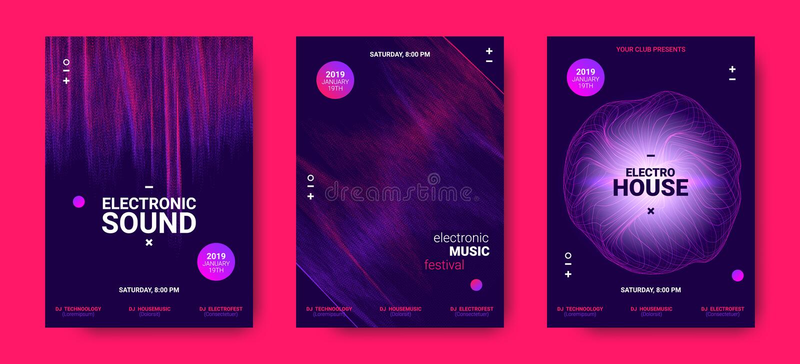 Elektronicznej muzyki plakaty z Rozsądną amplitudą ilustracja wektor