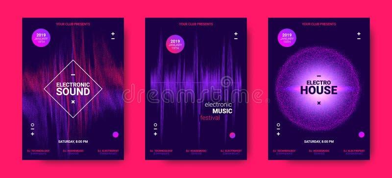 Elektronicznej muzyki plakaty z Rozsądną amplitudą royalty ilustracja