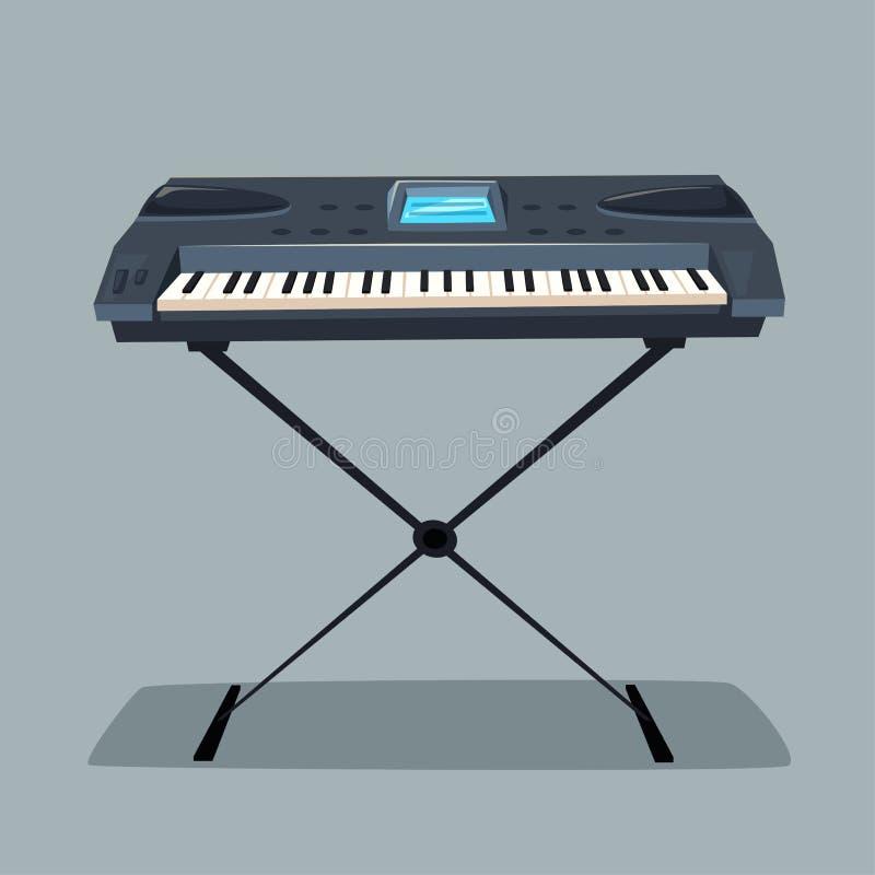 Elektronicznej muzyki syntetyka instrument obcy kreskówki kota ucieczek ilustraci dachu wektor royalty ilustracja