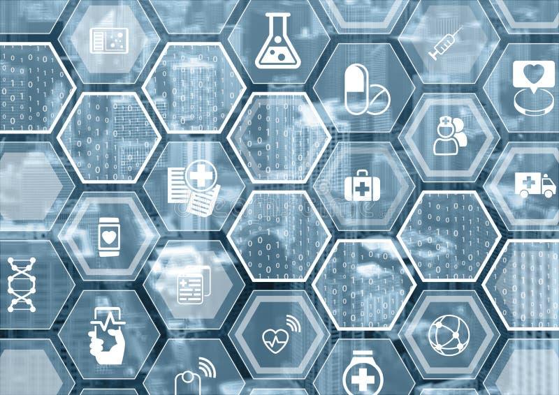 Elektronicznej opieki zdrowotnej błękitny tło z heksagonalnymi kształtami royalty ilustracja