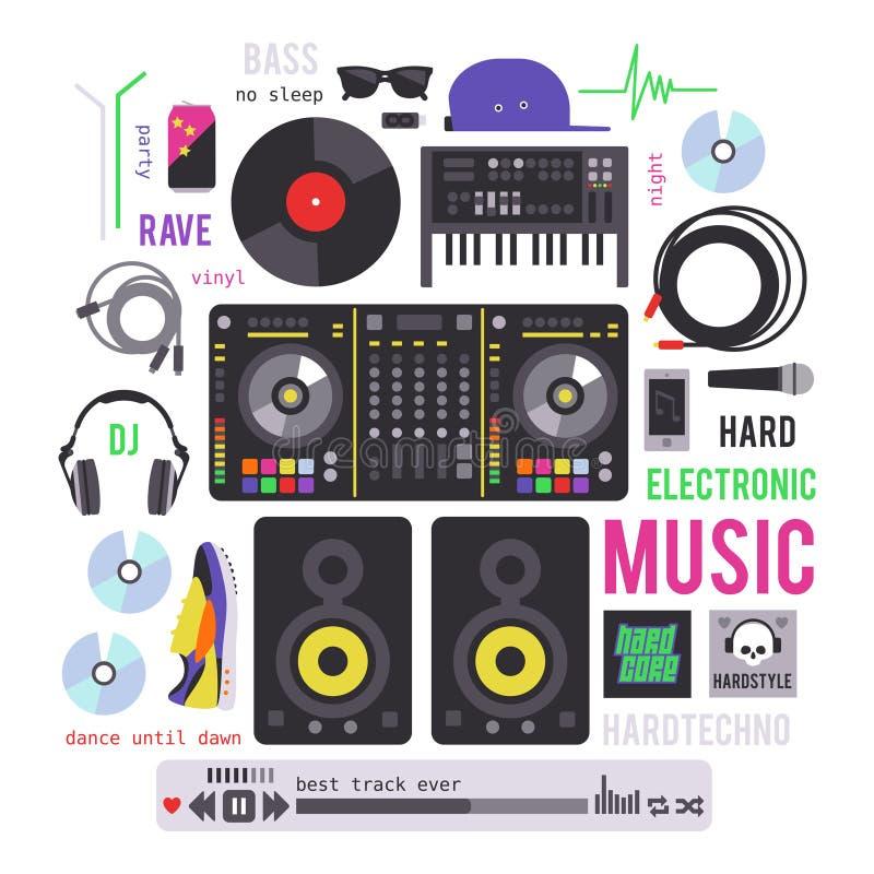 Elektroniczni muzykalni przyrząda ilustracja wektor