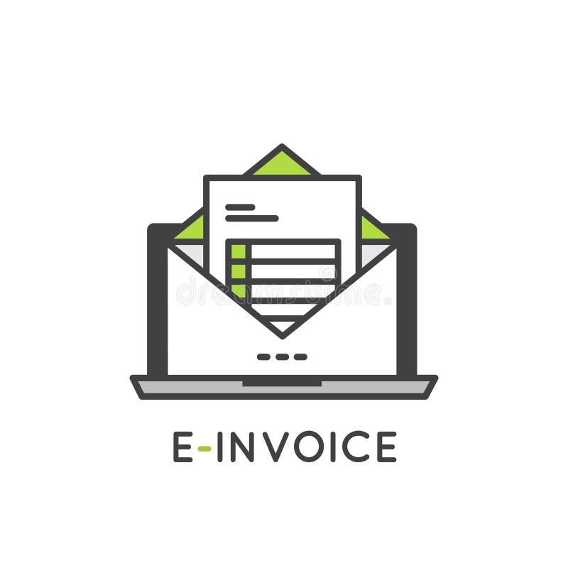 Elektroniczny faktury poczta papier Inbox ilustracji