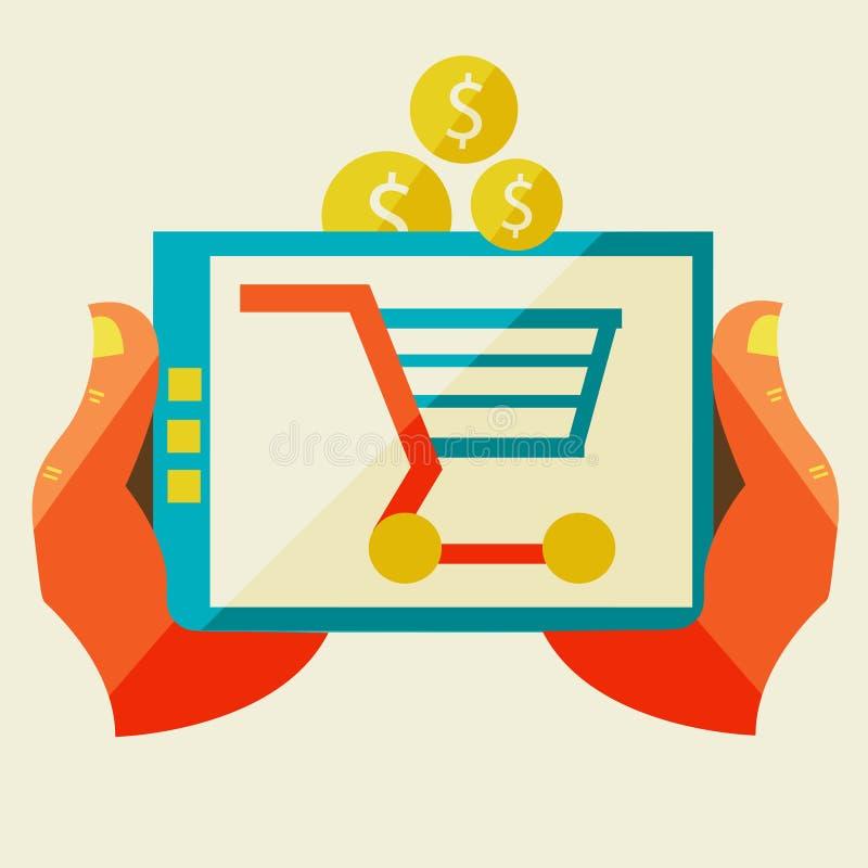 Elektroniczny handel i różnorodny zakupy royalty ilustracja