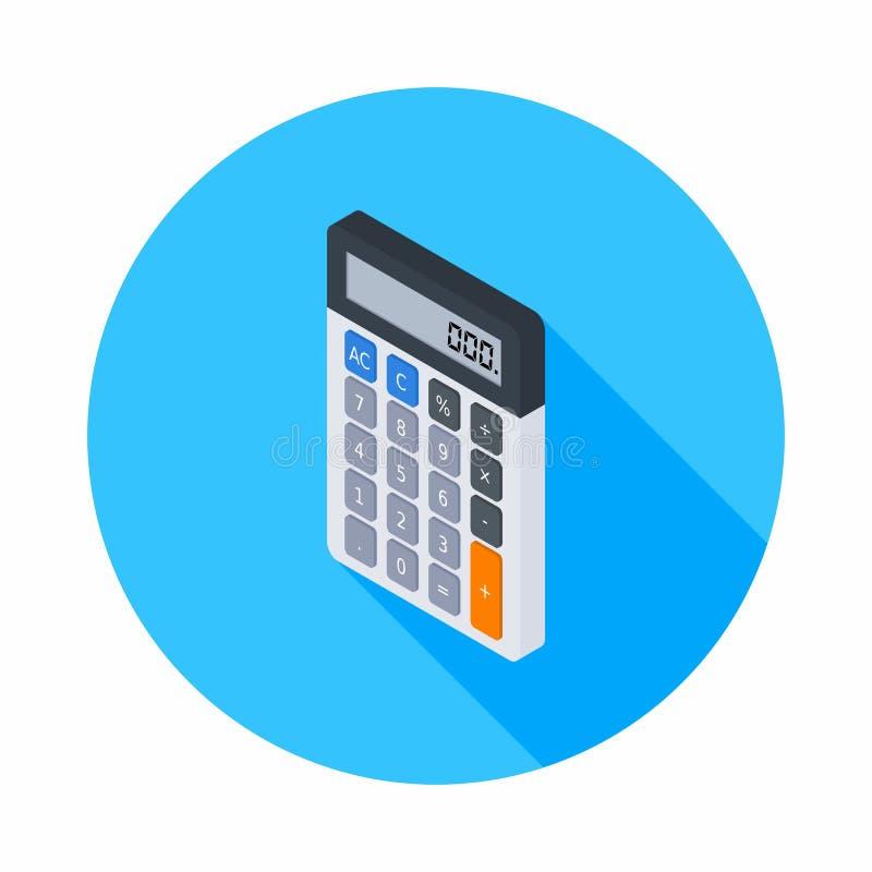 Elektroniczny kalkulator, Isometric, pojęcie kalkuluje konto finanse, Biurowy wyposażenie, finanse, biznes, wektor, Płaska iko royalty ilustracja