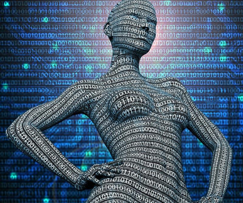 Elektroniczny kobiety lub kobiety cyborg na binarnym tle ilustracja wektor