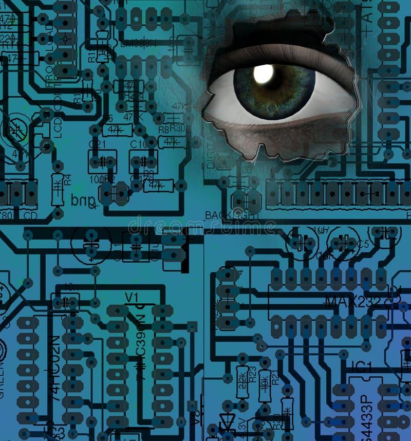 Elektroniczny oko ilustracja wektor