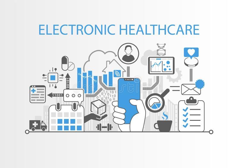 Elektroniczny opieki zdrowotnej pojęcie z ręką trzyma nowożytnego bezel bezpłatnego mądrze telefon royalty ilustracja