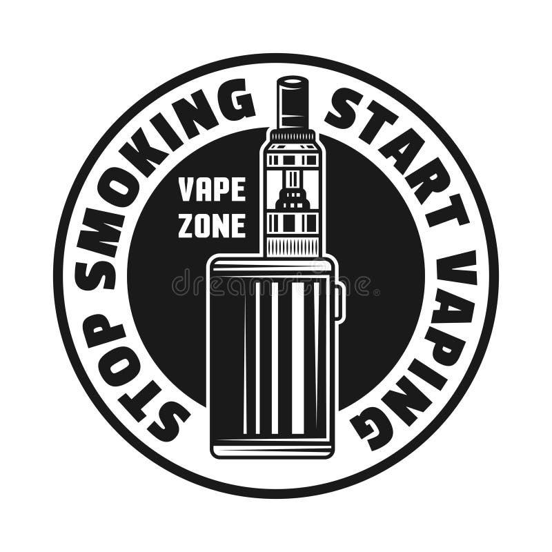 Elektroniczny papierosowy wektorowy monochromatyczny emblemat royalty ilustracja