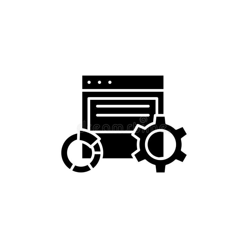Elektroniczny raportowy czarny ikony pojęcie Elektroniczny raportowy płaski wektorowy symbol, znak, ilustracja ilustracji