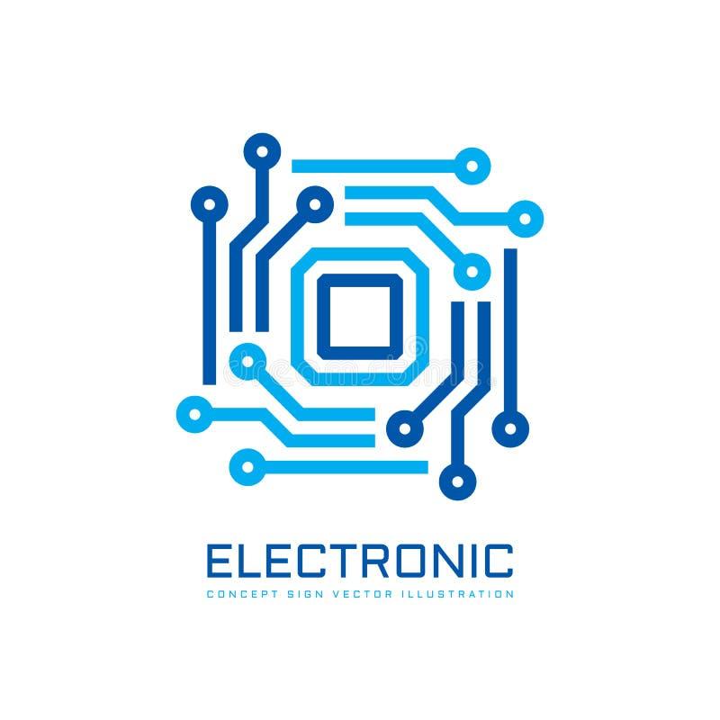 Elektroniczny technologia chipu komputerowego procesor - poj?cie logo szablonu wektoru biznesowa ilustracja JEDNOSTKA CENTRALNA - ilustracji