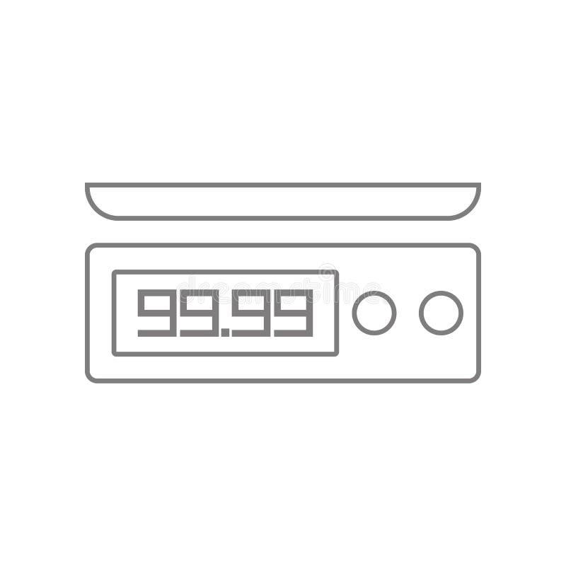 Elektroniczny wa?y dla produkt ikony Element sie? dla mobilnego poj?cia i sieci apps ikony Kontur, cienieje kreskow? ikon? dla st ilustracji