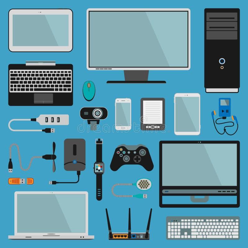 Elektronicznych gadżetów ikon technologii peceta elektronika multimedii wektorowi przyrząda Codzienni technologia przedmioty kont royalty ilustracja