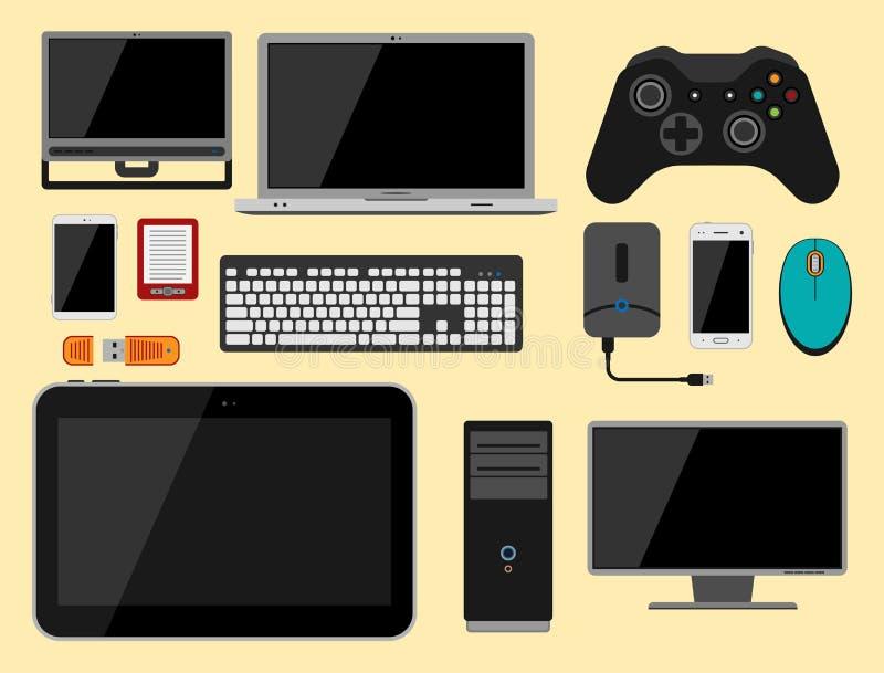Elektronicznych gadżet ikon technologii elektronika multimedialnych przyrządów codzienni przedmioty kontrolni i komputerowy związ ilustracja wektor