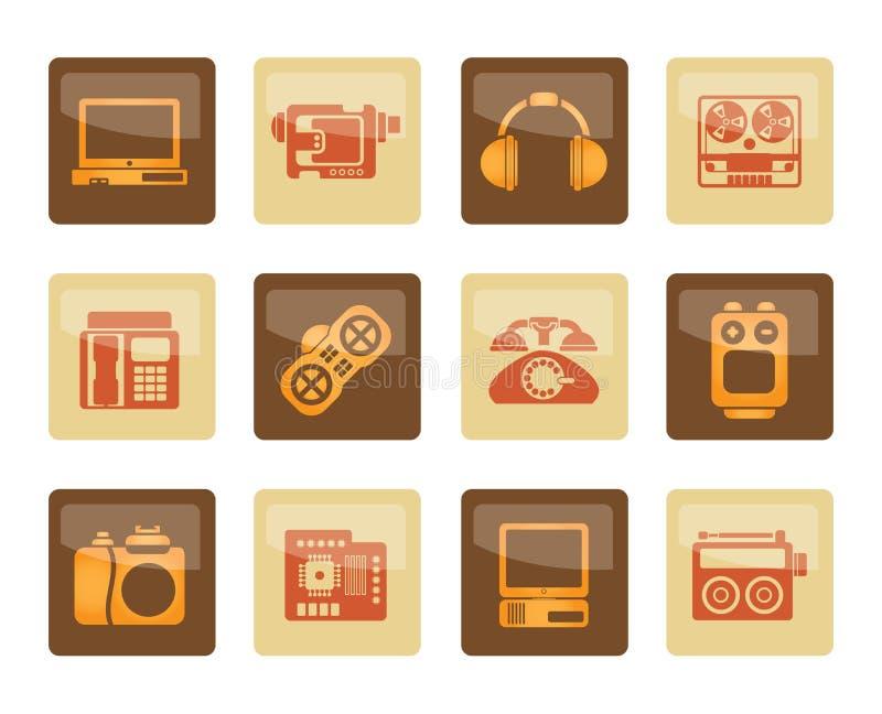 Elektronik, massmedia och tekniska utrustningsymboler över brun bakgrund royaltyfri illustrationer
