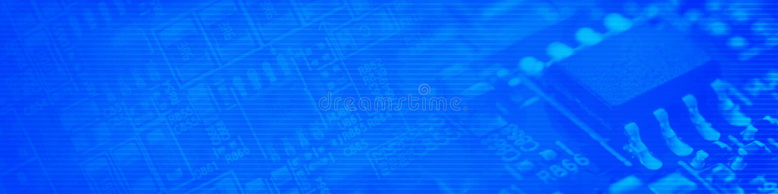Blue cyberspace background. A symbolic image in panoramic format with copy space stock photos