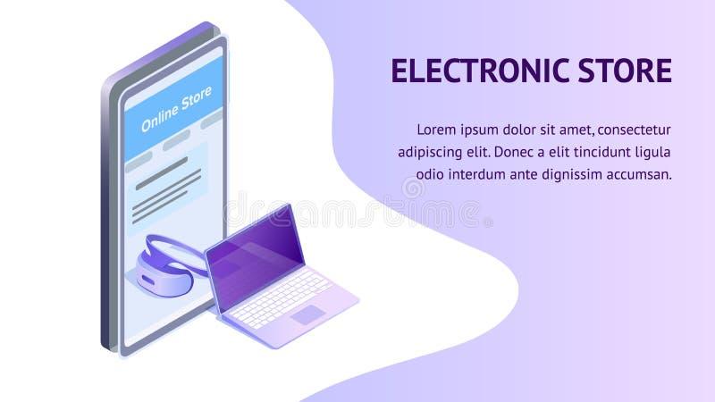 Elektronik-Supermarkt-isometrische Fahnen-Schablone lizenzfreie abbildung