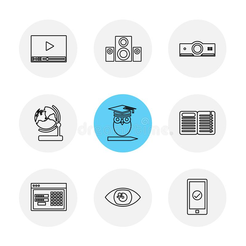 elektronik teknologi, studie, utbildning, vetenskap, eps-symbol royaltyfri illustrationer