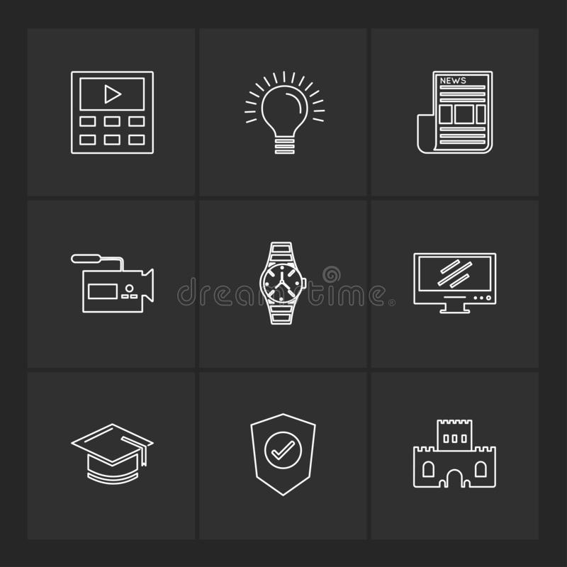 elektronik teknologi, studie, utbildning, vetenskap, eps-symbol stock illustrationer