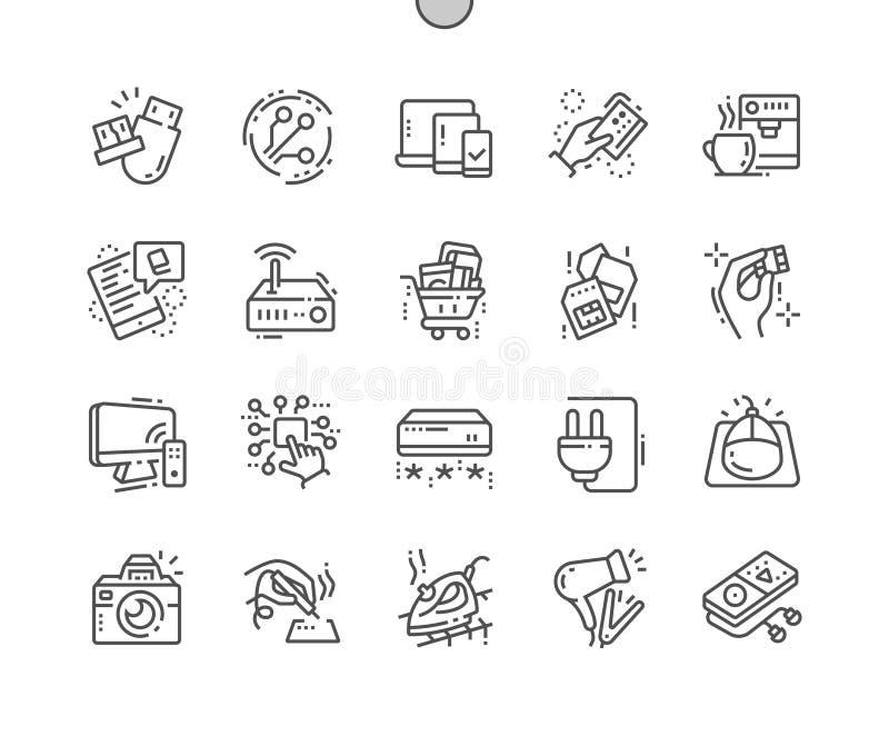 Elektronika goed-Bewerkte Pictogrammen 30 van de Pixel Perfecte Vector Dunne Lijn 2x Net voor Webgrafiek en Apps stock illustratie