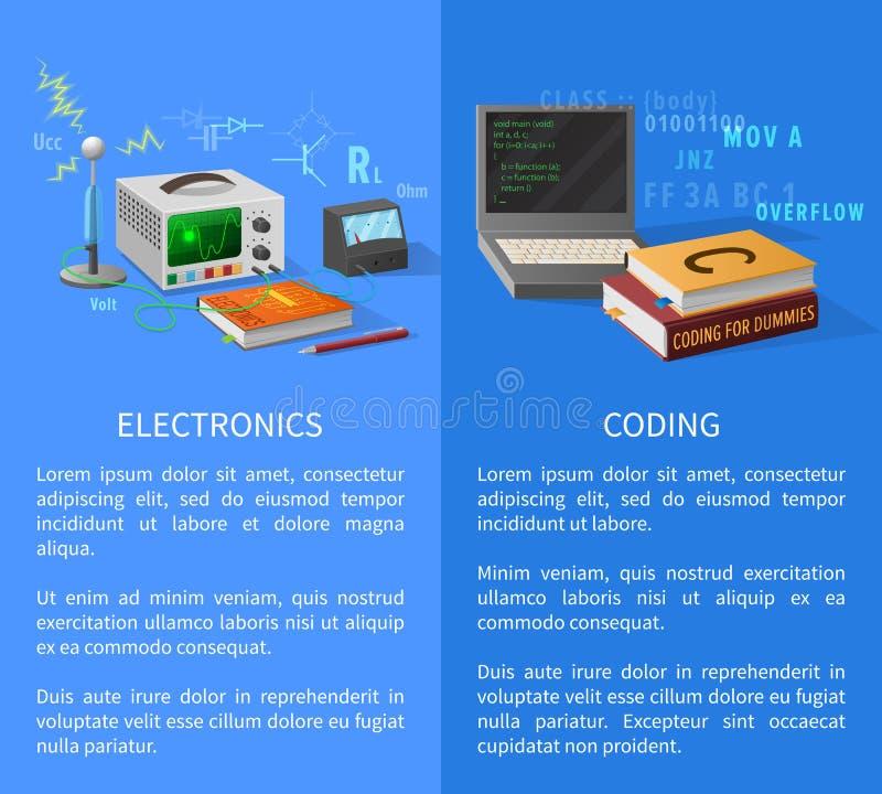 Elektronika i cyfrowanie lekcj Promocyjny plakat royalty ilustracja