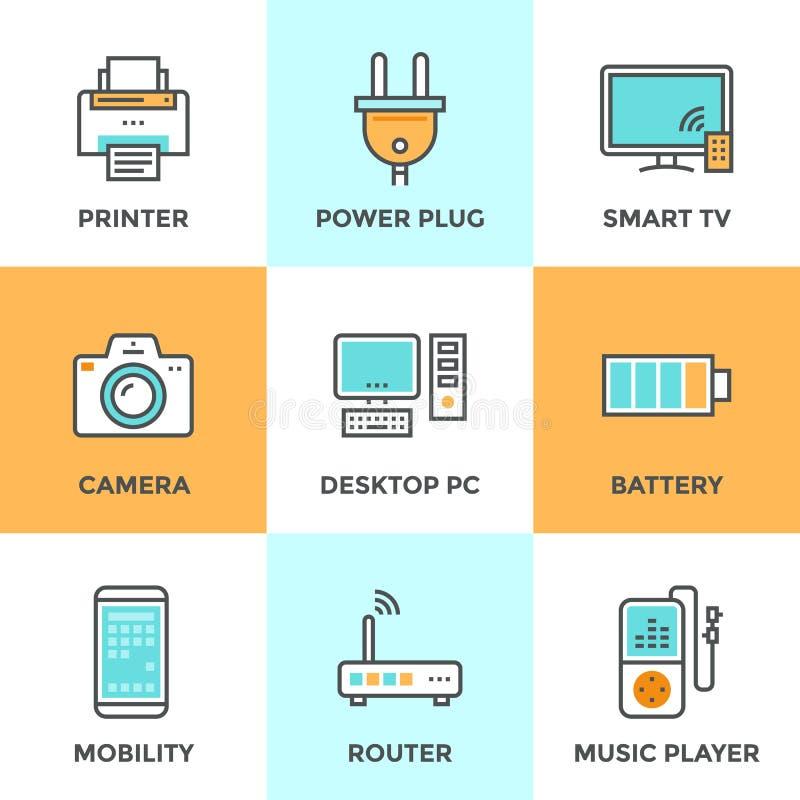 Elektronika i przyrząda wykładają ikony ustawiać ilustracji