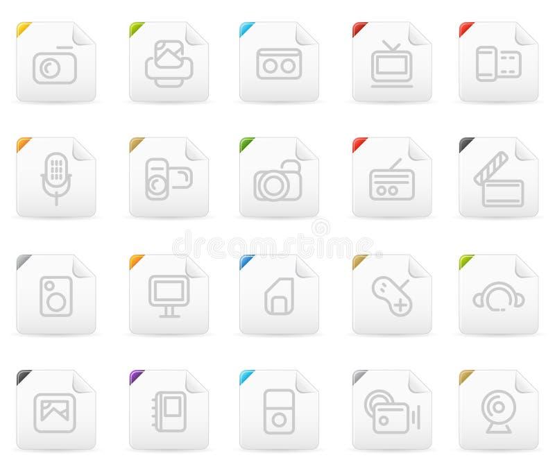 elektronika ikony medialny ustalony squaro royalty ilustracja
