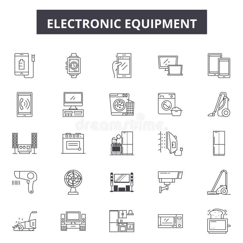 Elektronika kreskowe ikony, znaki, wektoru set, kontur ilustracji pojęcie ilustracja wektor