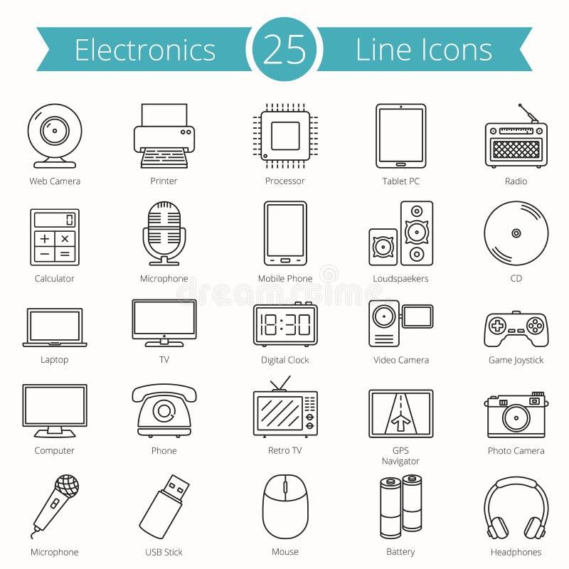 25 elektronika Wykładają ikony ilustracja wektor