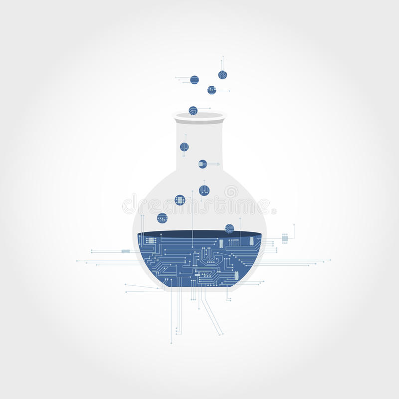 Elektronikakring en chemisch experiment stock illustratie