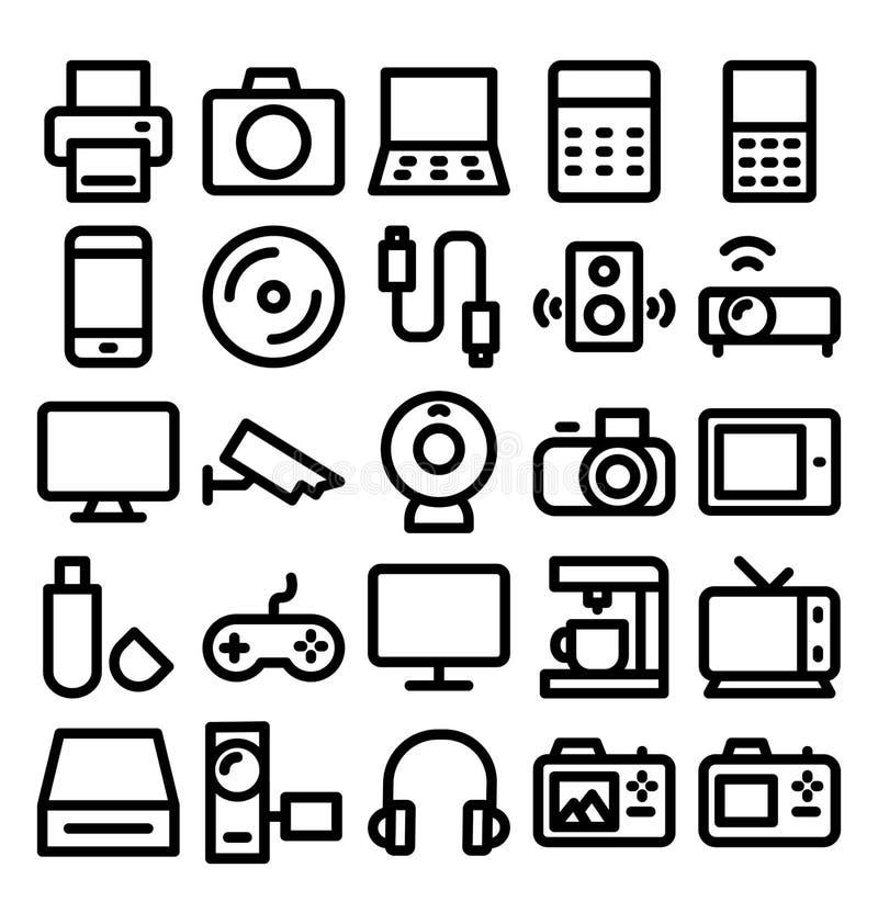 Elektroniki i przyrządów śmiałe Kreskowe ikony które mogą łatwo zmodyfikowany lub redagować ilustracji